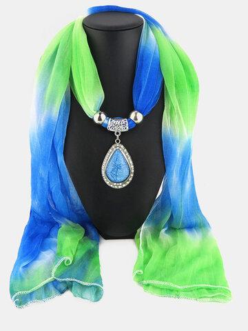 Шифоновое колье с градиентным шарфом