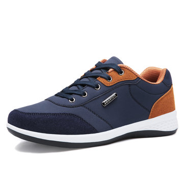 Men Splicing Leather Sport Casual Sneakers