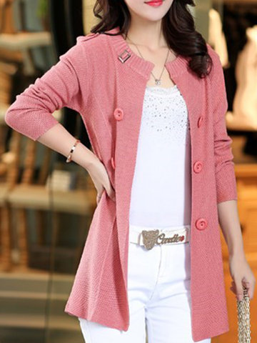 Long Design Female Knitted Sweater Cardigan