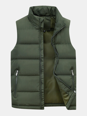 Men's Thicken Solid Color Casual Down Vest