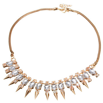 Crystal Spike Rivets Snake Gold Chain Collier