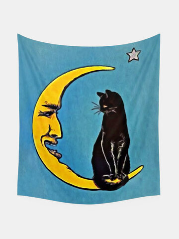 Black Cat And Moon Pattern Tapestry Art Home Decoration Living Room Bedroom Decoration