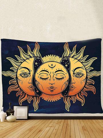 Wall Hanging Moon And Sun Mandala Tapestry Bohemian Bedspread Decoration