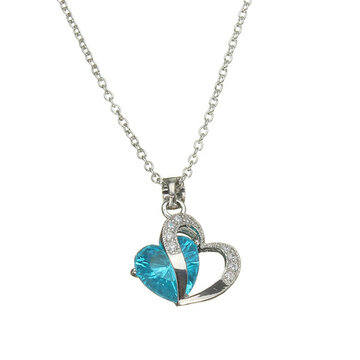 Love Crystal Silver Plated Chain Necklace