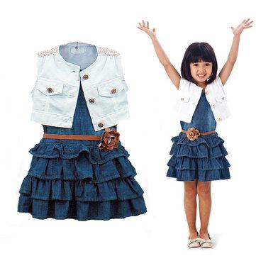 3pcs vestido de denim definido para 1Y-7Y