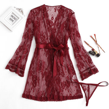 Sexy Lace Embroidered Hollow Out Nightwear
