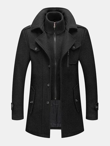 Woolen Double Collar Overcoat