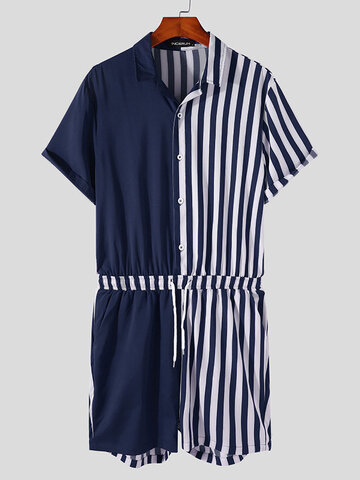 Plus Size Striped Patchwork Jumpsuits