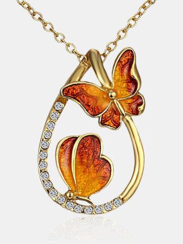Luxury Butterfly Rhinestones Drop Necklace