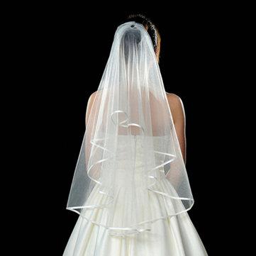 3 طبقات العروس العاج الأبيض الزفاف الزفاف الحرير حافة الحجاب قصيرة مع