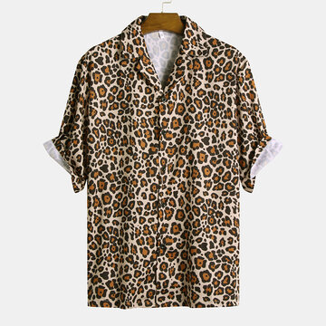 Mens Leopard Printed Casual Shirts