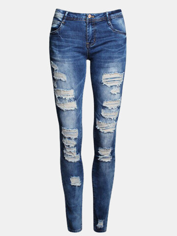 Low Waist Distressed Ripped Skinny Jeans