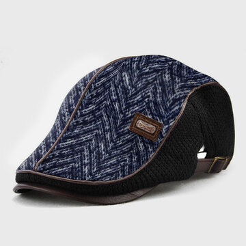 COLLROWN Men Knit Leather Line Patchwork Color Casual Beret Hat