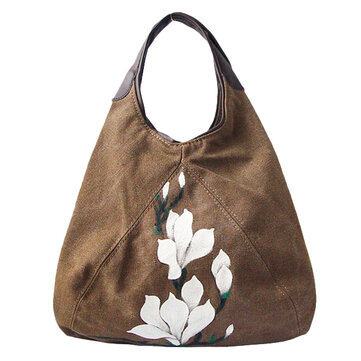 National Style Canvas Casual Tote Handbag Flower Pattern Shoulder Bags Crossbody Bags For Women