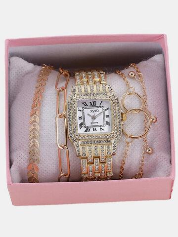 5 Pcs/Set Alloy Stainless Steel Quartz Watch Bracelet