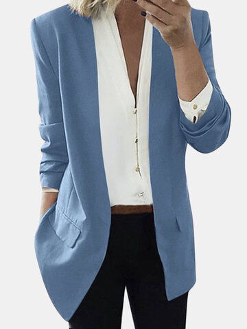 Chaqueta de manga larga de traje de color sólido Delgado para Mujer