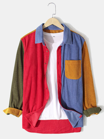 Patchwork Corduroy Colorblock Shirts