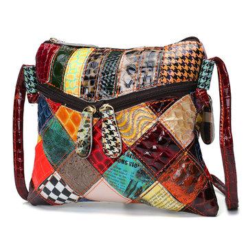 Casual Patchwork Colorful Sac à bandoulière en cuir véritable pour femme