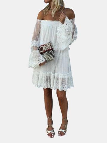 Flare Sleeve Off Shoulder Kleid