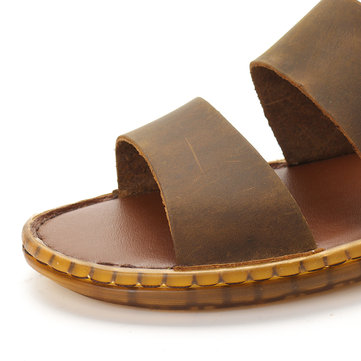 newchic / Men Retro Genuine Leather Non Slip Sandals