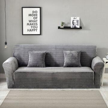 Plush Plaid Elastic Sofa Cover
