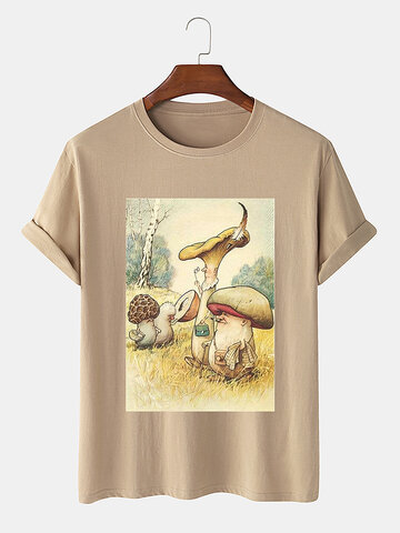 Cartoon Mushroom Graphic T-Shirt