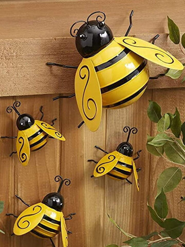 Vintage Metal Bee Garden Accents Lawn Ornaments Home Garden Cafe Wall Decor