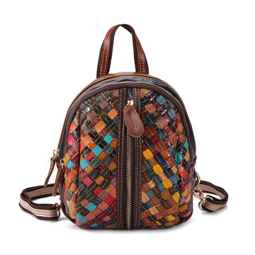 Women Genuine Leather Hand Stitching Patchwork Backpack