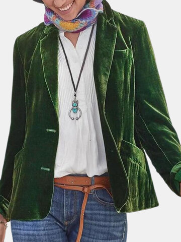 Casual Solid Color Button Jackets