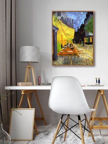 1 PC Vintage Unframed Oil Painting Restaurant Street Pattern Van Gogh Painting Waterproof Cafe Home Decor Wall Pictures
