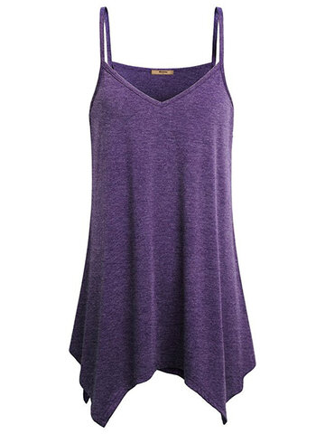 Casual Solid Strap V-Neck Tank Tops