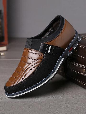 Men Leather Splicing Non Slip Casual Shoes