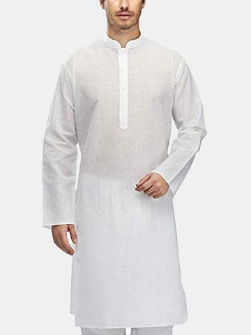 Mens túnica vestido étnico Kurta pijama t-shirt Tops