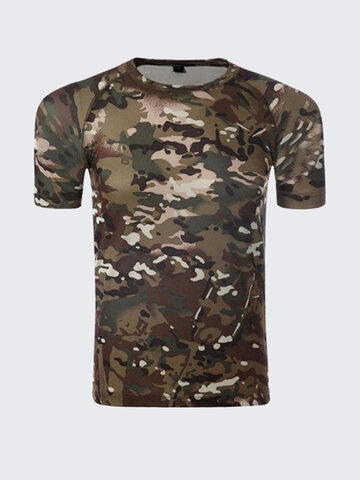 Summer Mens Tees Army Sports Tactical Camo Slim Fit Crew Neck Short Sleeved T-shirts, Black/orange black/red/green black/white black/red/blue black/green/red