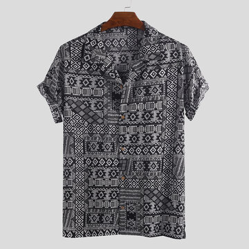 Mens Vintage Ethnic Printed Loose Shirts