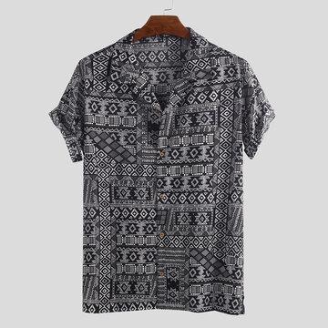 Mens Vintage Ethnische gedruckte lose Hemden