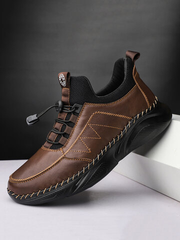 Men Comfy Cowhide Leather Casual Sport Shoes