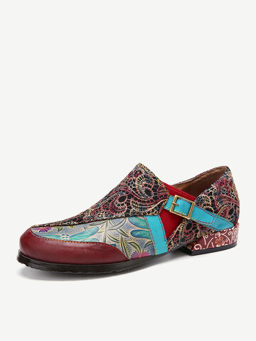 Retro Embroidery Stitching Flower Flats