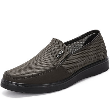 Men Mesh Splicing Soft Sole Slip On Casual Shoes