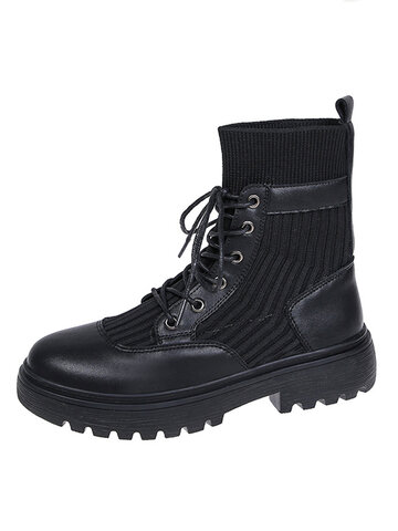 Pure Black Comfortable Wearable Sock Boots
