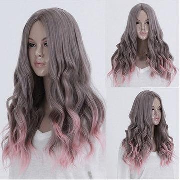 Lolita Harajuku Серый Розовый Полный парик Длинные вьющиеся волнистые волосы партии Cosplay Парики