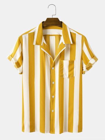 カジュアルストライプターンダウンカラーシャツ