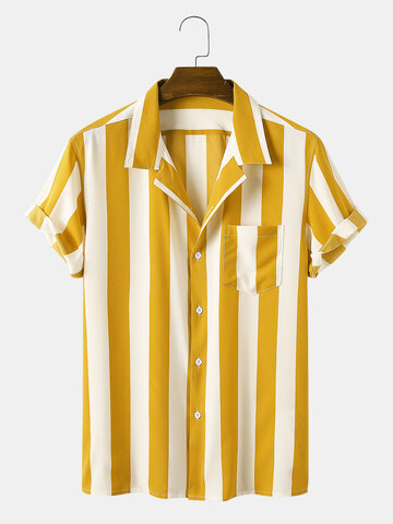 Casual Striped Turn-down Collar Shirt