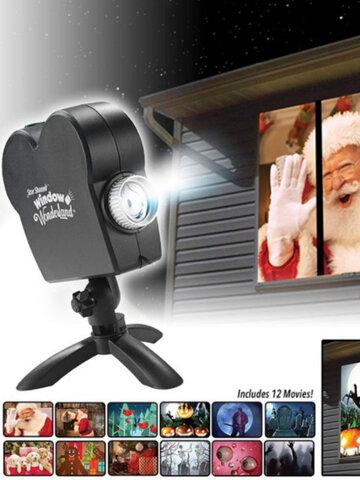 جهاز عرض الكريسماس Spooky Nights Party Lights 12 فيلم Window Wonderland Movie Projector