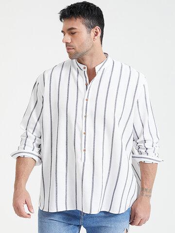 Camisetas listradas tamanho plus Henley