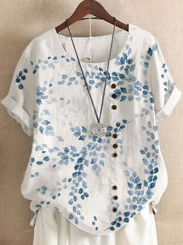 Breasted Leaves Print Loose T-shirt