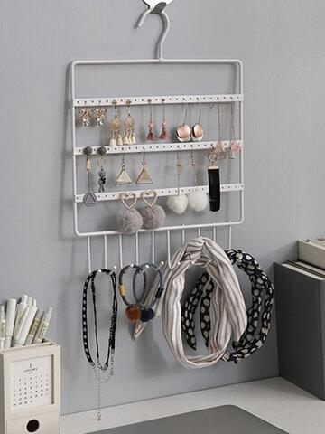 72 Holes 10 Hooks Wall Hanging Earrings Jewelry Display