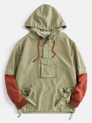Pockets Detail Contrast Color Hoodie
