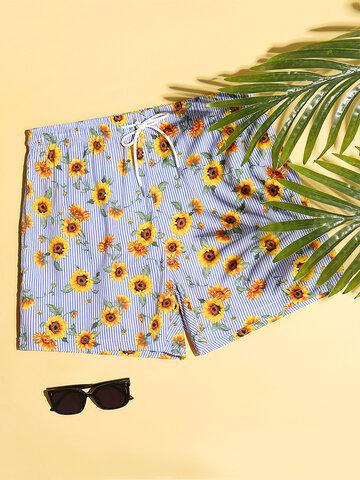 Shorts mit gestreiftem Sonnenblumenmuster