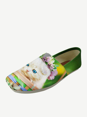 Cat Square Toe Flat Loafers Shoes